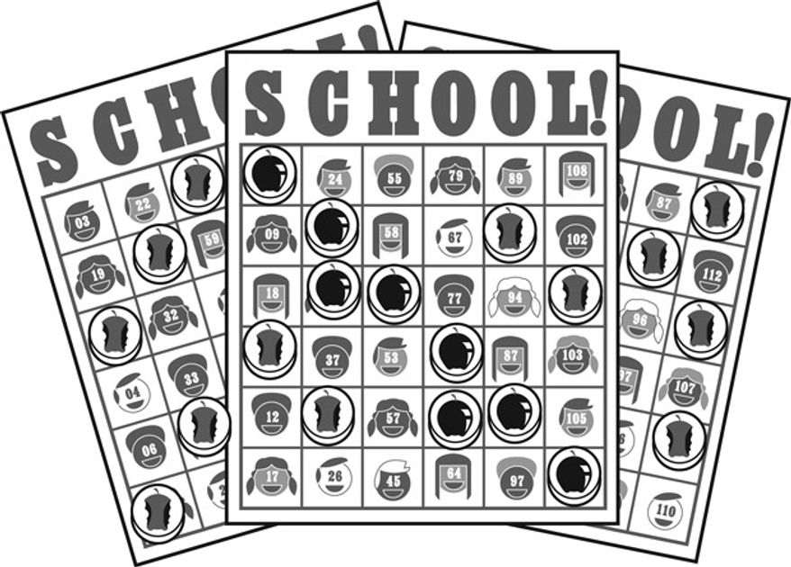 Illustration: School lottery by Linas Garsys for The Washington Times