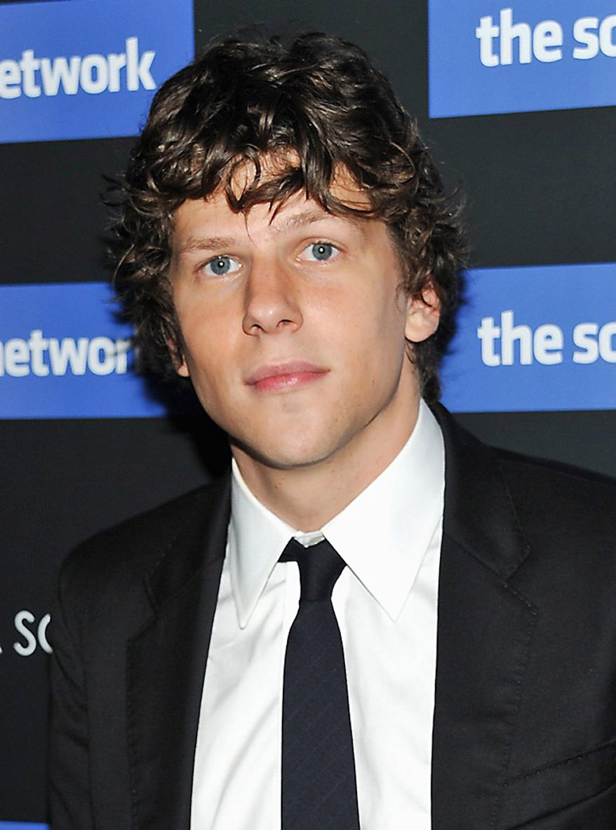 "In this Wednesday, Sept. 29, 2010, picture, actor Jesse Eisenberg attends a special screening of the movie ""The Social Network"" in New York. Mr. Eisenberg was nominated for an Academy Award for best actor for his role in ""The Social Network,""  Tuesday, Jan. 25, 2011. The Oscars will be presented Feb. 27 at the Kodak Theatre in Hollywood. (AP Photo/Evan Agostini)"