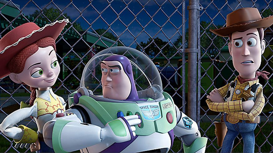 "** FILE ** Jessie, voiced by Joan Cusack, (from left) Buzz Lightyear, voiced by Tim Allen, and Woody, voiced by Tom Hanks, in a scene from ""Toy Story 3."" (AP Photo/Disney Pixar)"