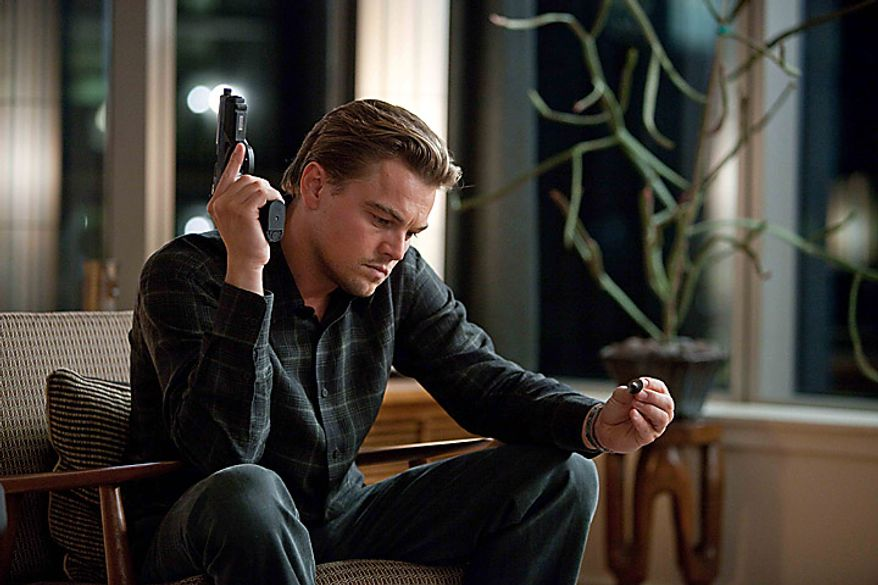 """Leonardo DiCaprio in a scene from """"Inception."""" The film was nominated for an Academy Award for best film, Tuesday, Jan. 25, 2011. The Oscars will be presented Feb. 27 at the Kodak Theatre in Hollywood. (AP Photo/Warner Bros., Melissa Moseley)"""