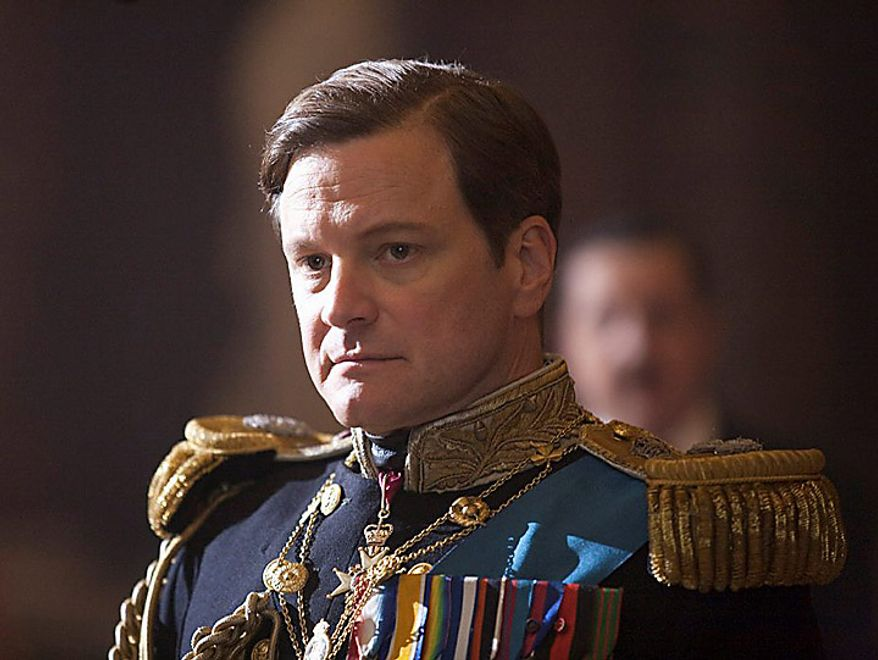 """Colin Firth portrays King George VI in """"The King's Speech."""" The film was nominated for an Academy Award for best film, Tuesday, Jan. 25, 2011. The Oscars will be presented Feb. 27 at the Kodak Theatre in Hollywood.  (AP Photo/The Weinstein Company, Laurie Sparham)"""