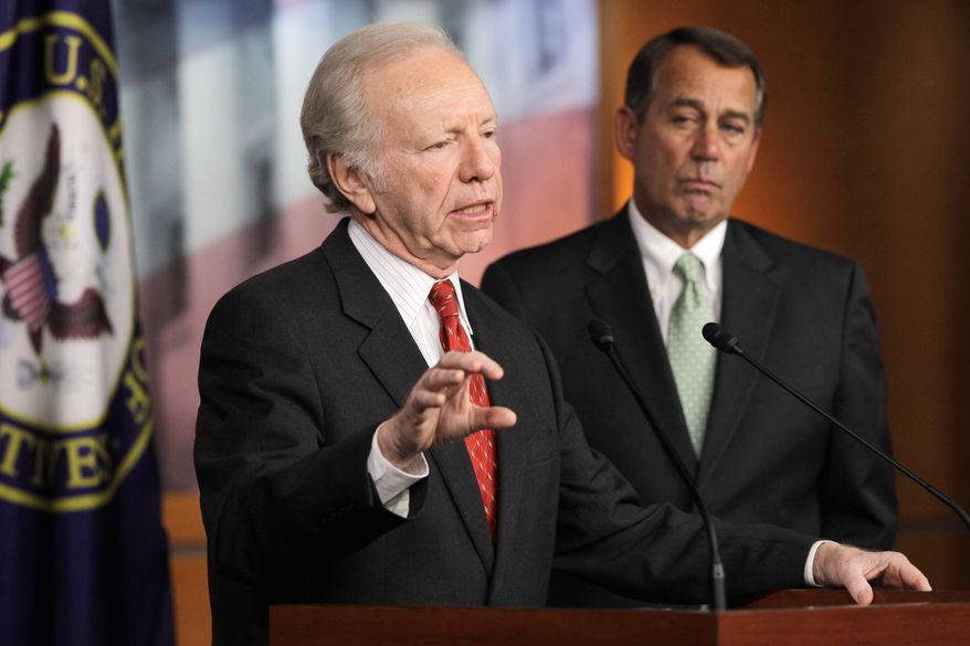 Sen. Joe Lieberman, Connecticut independent (left) accompanied by House Speaker John A. Boehner of Ohio, speaks Wednesday during a news conference to explain the revived D.C. Opportunity Scholarship Program. (Associated Press)