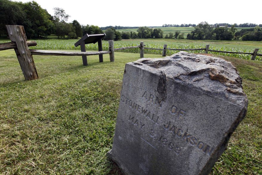 The grave marker where the arm of Gen. Stonewall Jackson reportedly is buried is near the site where Wal-Mart proposed to build a Supercenter. (Associated Press)