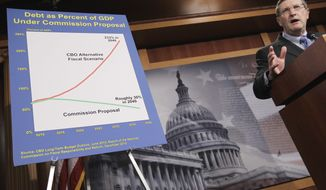 Sen. Kent Conrad, North Dakota Democrat and Senate Budget Committee chairman, speaks about the Congressional Budget Office's economic outlook Wednesday during a news conference on Capitol Hill. (Associated Press)