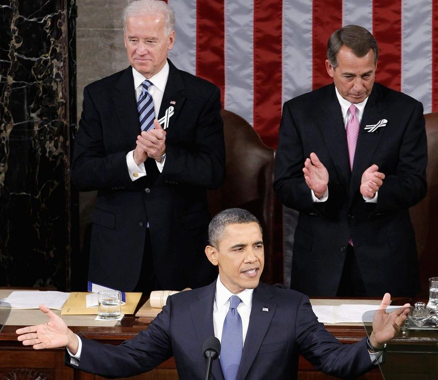 As Vice President Joseph R. Biden Jr. and House Speaker John A. Boehner look on, President Obama called Tuesday night for rejuvenating America's innovative spirit. (Associated Press)