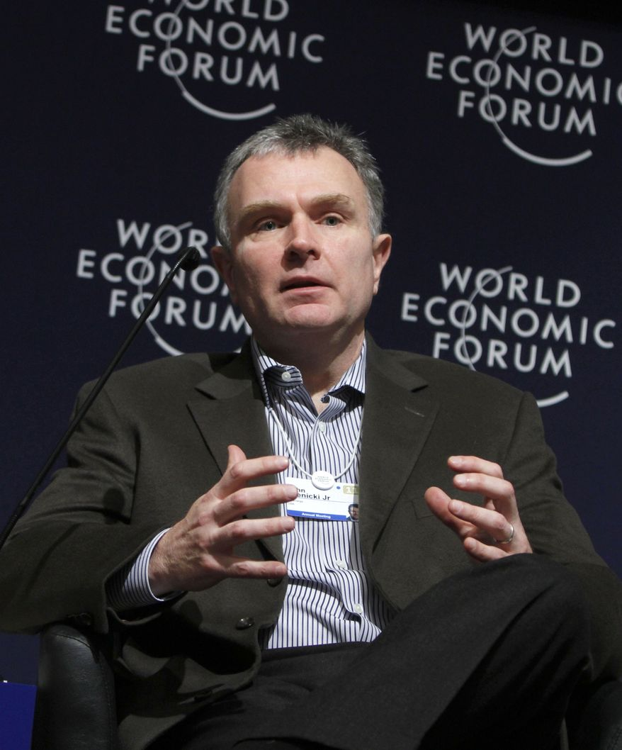John Krenicki, vice-chairman of GE and CEO of GE Energy, USA, speaks during a session at the World Economic Forum in Davos, Switzerland on Wednesday, Jan. 26, 2011. (AP Photo/Virginia Mayo)