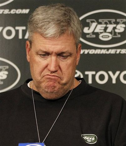 New York Jets head coach Rex Ryan reacts to a question during a press conference at the team's training facility, Monday, Jan. 24, 2011 in Florham Park, N.J. A day earlier, the Jets ended their season with a 24-19 loss to the Pittsburgh Steelers in the AFC championship game. (AP Photo/Julio Cortez)