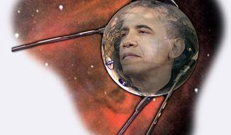 Illustration: Obama's Sputnik moment by Greg Groesch for The Washington Times