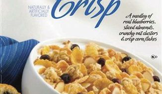 """This product image provided by the Grocery Manufacturers Association shows new """"Nutrition Keys"""" labels, lower left, as they would appear on a box of cereal. The Grocery Manufacturers Association and the Food Marketing Institute on Monday, Jan. 24, 2011 announced the industry's voluntary new labels, which will list calories, saturated fat, sodium and sugars per serving. (AP Photo/Grocery Manufacturers Association) NO SALES"""