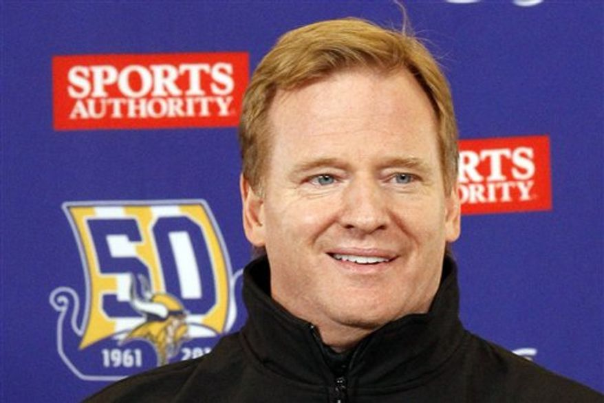 ** FILE ** NFL Commissioner Roger Goodell speaks before an NFL football game between the Minnesota Vikings and the Chicago Bears in Minneapolis on Dec. 20, 2010. (AP Photo/Ann Heisenfelt, File)
