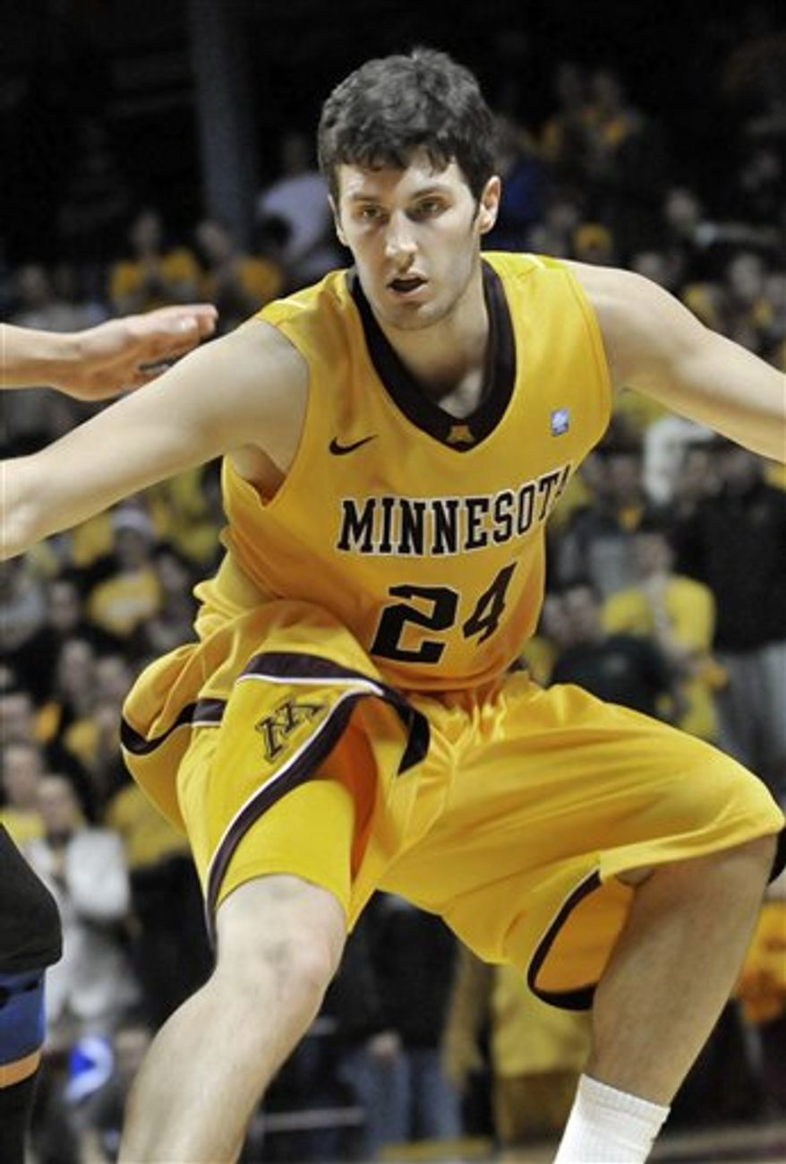 In this photo taken Dec. 23, 2010, Minnesota senior point guard Al Nolen drives against South Dakota State during an NCAA college basketball game in Minneapolis. Minnesota must now move on without Nolen who will have surgery Wednesday to place a pin in his broken right foot. (AP Photo/Jim Mone)