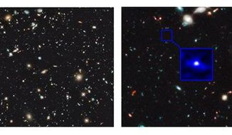 These handout images, provided by NASA, taken by the Hubble Space Telescope shows the sky in the region of the Hubble Ultra-Deep field taken with the new Wide Field Camera 3 Infra-red imager (WFC3/IR) on HST. This image is the deepest image of the sky ever obtained in the near-infrared, left. Right is the image enhanced showing the galaxy that existed 480 million years after the Big Bang and the position in the Hubble Ultra Deep Field (HUDF) where it was found. (AP Photo/NASA)