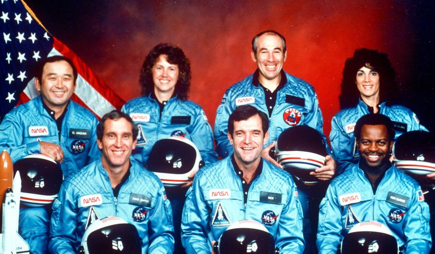 This 1986 file photo provided by NASA shows the crew of the space shuttle Challenger. From left are Ellison Onizuka, Mike Smith, Christa McAuliffe, Dick Scobee, Greg Jarvis, Ron McNair and Judith Resnik. (AP Photo/NASA) ** FILE **