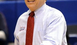 FILE - In this March 7, 2010 file photo, DePaul head coach Doug Bruno expresses himself as his team plays West Virginia in a NCAA college basketball game in Hartford, Conn. Sitting atop the Big East conference is Bruno and his Blue Demons, who have already matched the best start in school history. On Sunday, Jan. 30, 2011 they begin a difficult stretch when they host West Virginia.  (AP Photo/Bob Child, File)