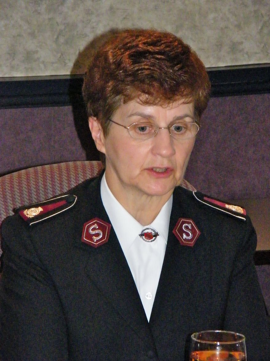 Commissioner Linda Bond, a Canadian, will take office as general of the Salvation Army on April 2, 2011. She will be the third female international leader in the movement's history. [Photo by Mark A. Kellner/The Washington Times]