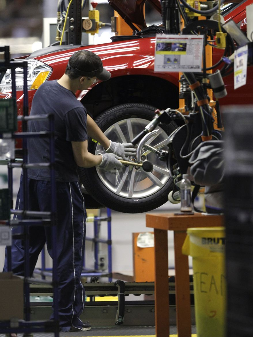 A line worker assembles a Dodge Avenger at Chrysler's Sterling Heights assembly plant in Sterling Heights, Mich., on Dec. 6, 2010. Chrysler significantly narrowed its fourth-quarter net loss as it continues to recover from bankruptcy. (AP Photo/Paul Sancya)