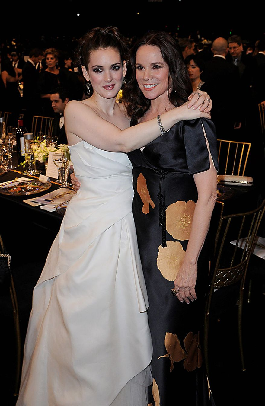 Winona Ryder, left, and Barbara Hershey at the 17th Annual Screen Actors Guild Awards on Sunday, Jan. 30, 2011, in Los Angeles. (AP Photo/Mark J. Terrill)