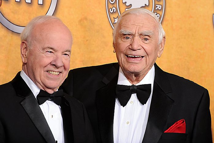 Tim Conway, left, and Ernest Borgnine pose at the 17th Annual Screen Actors Guild Awards on Sunday, Jan. 30, 2011, in Los Angeles. Mr. Borgnine was given the life achievement award. (AP Photo/Vince Bucci)