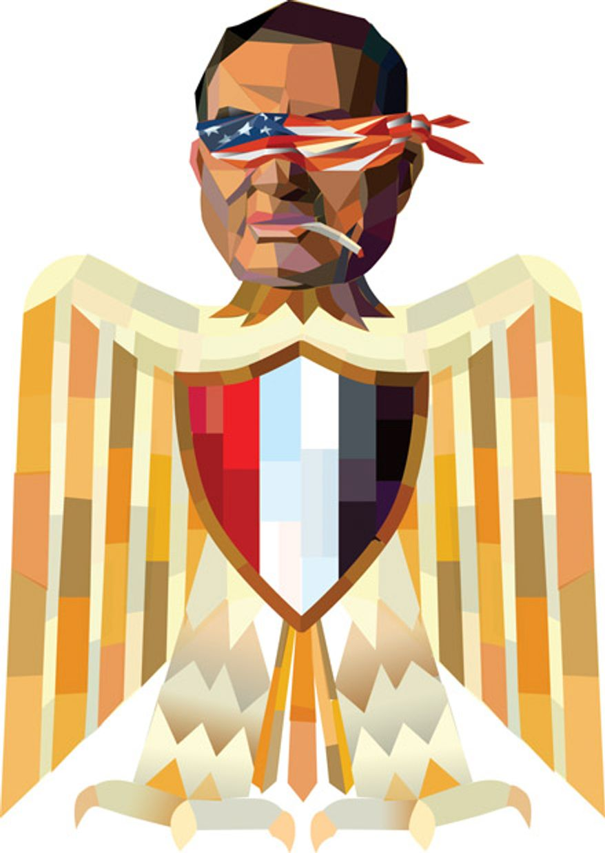 Illustration: Hosni Mubarak by Linas Garsys for The Washington Times