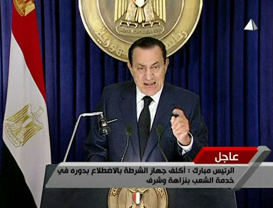 UNDER PRESSURE: Egyptian President Hosni Mubarak tells his people Tuesday he will not seek re-election. (Associated Press)