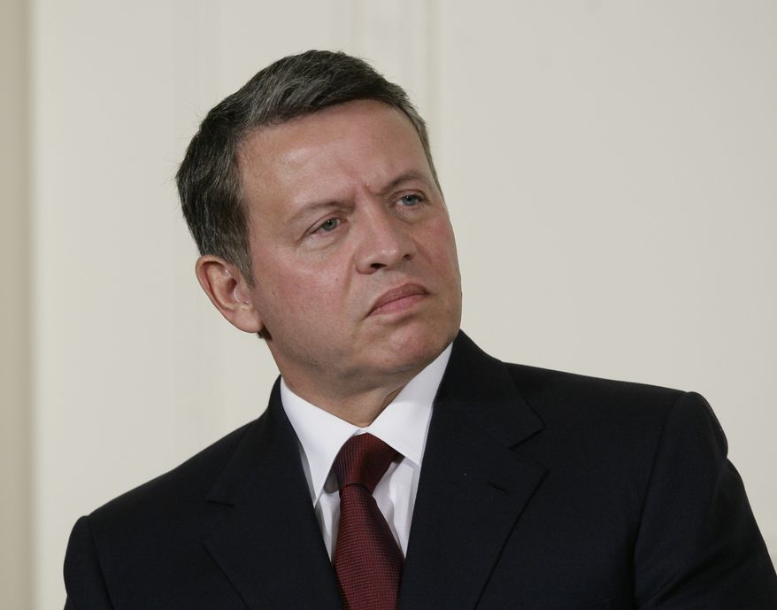** FILE ** King Abdullah II of Jordan, pictured during a visit to Washington in September 2010, has sacked his government in the wake of street protests and has asked an ex-army general to form a new Cabinet. (AP Photo/Pablo Martinez Monsivais, File)