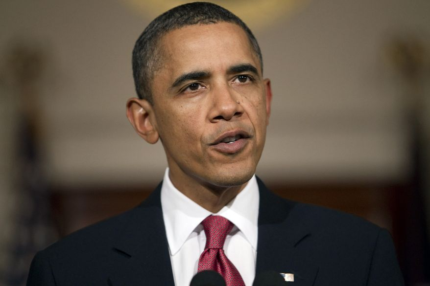 President Obama speaks Tuesday in the Grand Foyer of the White House about the situation in Egypt. (Associated Press)