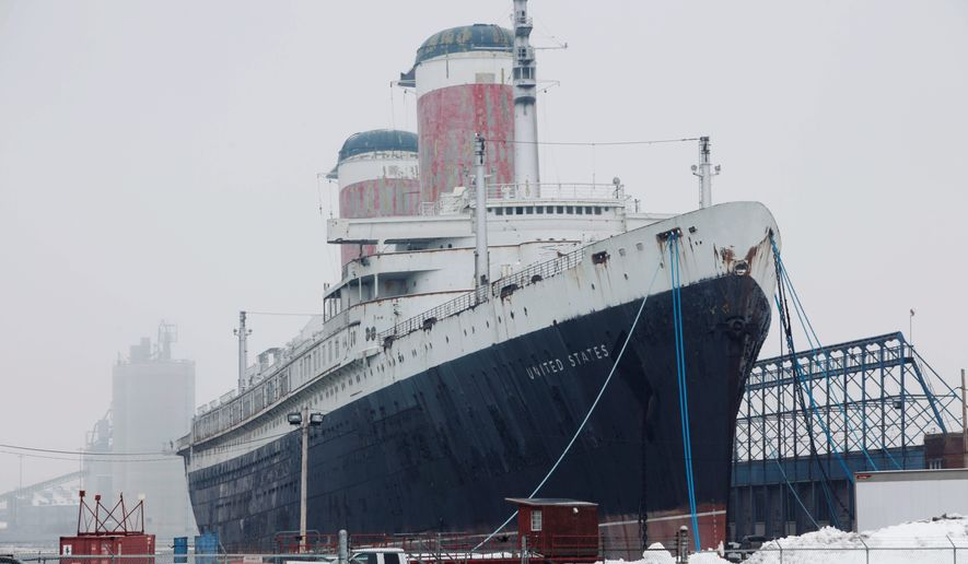 The SS United States, which once crossed the Atlantic at record speeds with celebrities and heads of state, is tied to a pier in Philadelphia. The nonprofit SS United States Conservancy has taken ownership of the ship, decommissioned in 1969, from Norwegian Cruise Lines and its parent. (Associated Press)