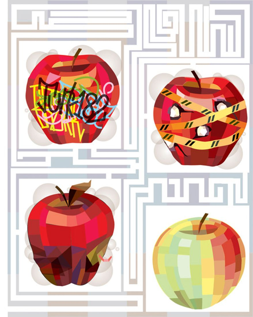 Illustration: School choice by Linas Garsys for The Washington Times