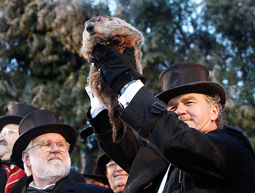 Groundhog Club handler John Griffiths holds Punxsutawney Phil, the weather-predicting groundhog, during annual Groundhog Day festivities on Wednesday, Feb. 2, 2011, in Punxsutawney, Pa. The Groundhog Club claimed that Phil did not see his shadow and predicted that spring will come early this year. (AP Photo/Keith Srakocic)