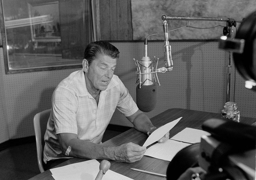 In this Sept. 20, 1976 photo, Ronald Reagan is seen at a Hollywood sound studio as he began the taping of a new nationwide commentary program. (Associated Press)