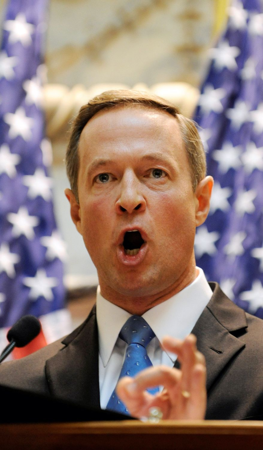 **FILE** Maryland Gov. Martin O'Malley makes a point while giving his State of the State speech on Feb. 3 in Annapolis, Md. (Associated Press)