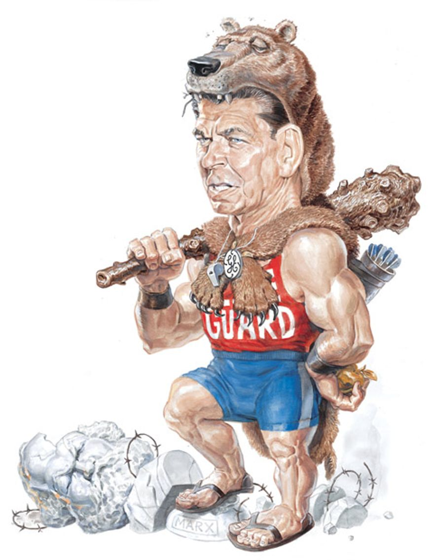 Illustration: Ronald Reagan by Alexander Hunter for The Washington Times