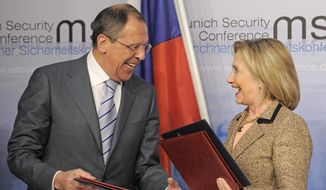 Secretary of State Hillary Clinton and Russian Foreign Minister Sergey Lavrov finalized the New START treaty in February 2011. Last month, the Uranium One case resurfaced when news reports revealed that the FBI apparently covered up information about illegal Russian attempts to lobby Mrs. Clinton. (Associated Press/File)
