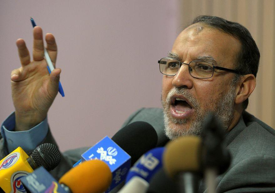 ** FILE ** Essam el-Erian, a senior Muslim Brotherhood leader seen speaking in Cairo on Feb. 2, 2011. (Associated Press)