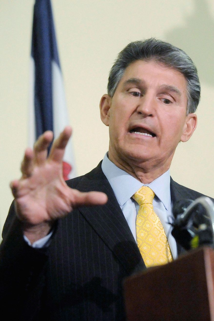 Sen. Joe Manchin III, just months after his election in West Virginia, has become a GOP target. (AP Photo)