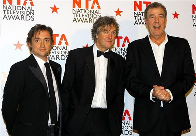 "FILE - This is a Jan. 26, 2011 file photo of Top Gear presenters Richard Hammond, left,  James May, centre,  and Jeremy Clarkson. The BBC  apologized Friday Feb. 4, 2011 to Mexico's ambassador for remarks on its ""Top Gear"" program that described Mexicans as lazy and oafish. The remarks came in a segment in which presenter Richard Hammond claimed that cars imitate national characteristics. ""Mexican cars are just going to be a lazy, feckless, flatulent, oaf with a mustache leaning against a fence asleep looking at a cactus with a blanket with a hole in the middle on as a coat,"" he said. Presenter James May mocked Mexican food, while Jeremy Clarkson suggested the ambassador would be too busy sleeping to register his outrage. (AP Photo/Gareth Fuller/PA)  UNITED KINGDOM OUT NO SALES NO ARCHIVE"