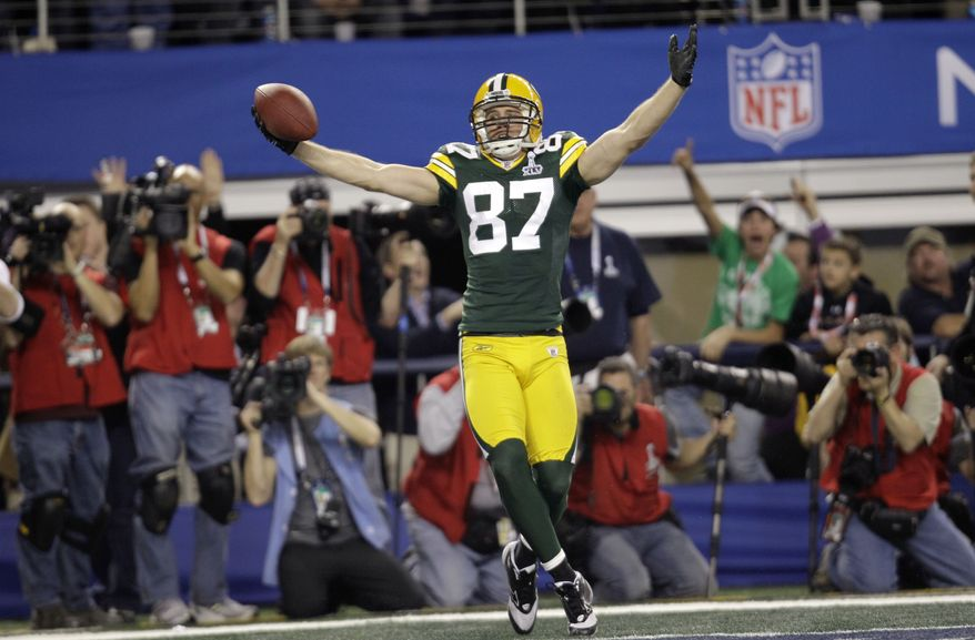 Green Bay Packers' Jordy Nelson celebrates after he scored a touchdown against the Pittsburgh Steelers during the first half of the NFL football Super Bowl XLV game on Sunday, Feb. 6, 2011, in Arlington, Texas. (AP Photo/Eric Gay)