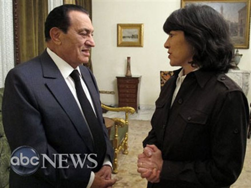 ** FILE ** ABC News journalist Christiane Amanpour (right) and Egyptian President Hosni Mubarak talk after an interview in Cairo on Thursday, Feb. 3, 2011. (AP Photo/ABC News)
