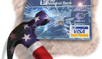 Illustration: Credit card regulation by Greg Groesch for The Washington Times