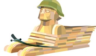 Illustration: Egypt's army by Linas Garsys for The Washington Times