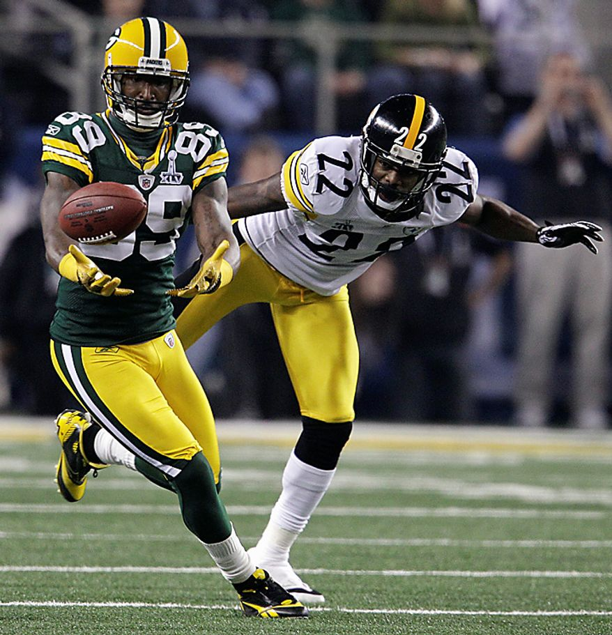 The Green Bay Packers' James Jones (89) drops a pass in front of the Pittsburgh Steelers' William Gay during the third quarter of the NFL Super Bowl XLV football game on Sunday, Feb. 6, 2011, in Arlington, Texas. (AP Photo/Matt Slocum)