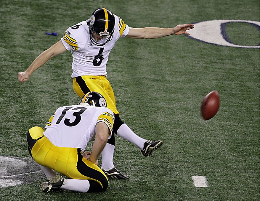 The Pittsburgh Steelers' Shaun Suisham (6) kicks a field goal as Jeremy Kapinos holds during the first half of the NFL Super Bowl XLV football game against the Green Bay Packers on Sunday, Feb. 6, 2011, in Arlington, Texas. (AP Photo/Lynne Sladky)