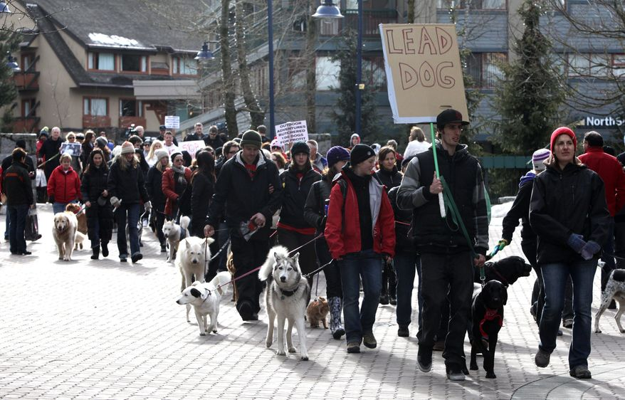 A march through the village of Whistler, British Columbia, on Saturday protests the slaughter of 100 sled dogs owned by Howling Dog Tours Whistler. The owner's claim that the dogs were old and sick is challenged. (Associated Press)