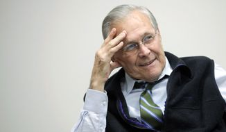 LOOKING BACK: Former Defense Secretary Donald H. Rumsfeld has written a memoir. (Associated Press)
