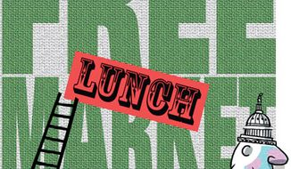 Illustration: Free lunch market by Alexander Hunter for The Washington Times