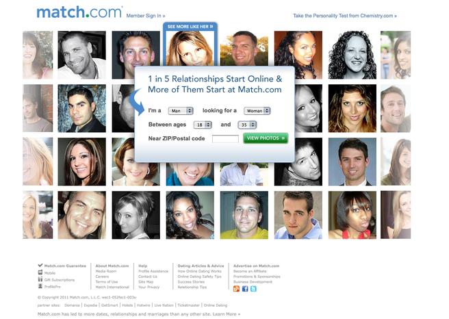 Screen capture from Match.com website. (Courtesy of Match.com) ** FILE **