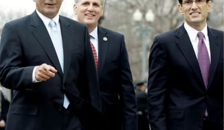 MOVERS: Republican leaders in the House leave a luncheon with President Obama on Wednesday. From left are: Speaker John A. Boehner of Ohio, Majority Whip Kevin McCarthy of California and Majority Leader Eric Cantor of Virginia. They discussed spending and the national debt. (Associated Press)
