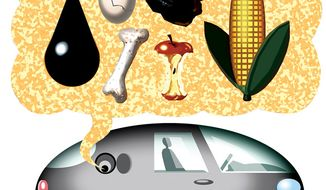 Illustration: Flex fuel by Alexander Hunter for The Washington Times