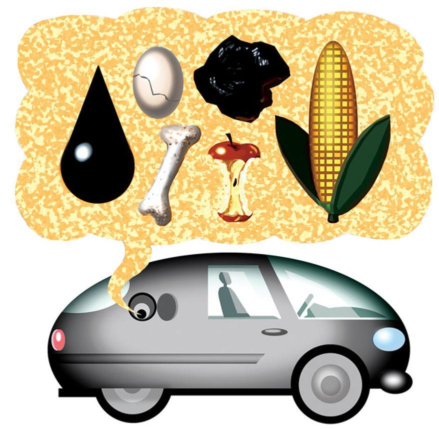 Illustration: Flex fuel by Alexander Hunter for The Washington Times