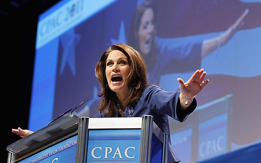 Rep. Michele Bachmann, Minnesota Republican, addresses the Conservative Political Action Conference (CPAC) in Washington on Thursday, Feb. 10, 2011. (AP Photo/Alex Brandon)